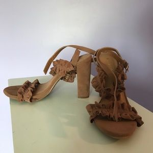 Ruffled Bamboo tan platform heels